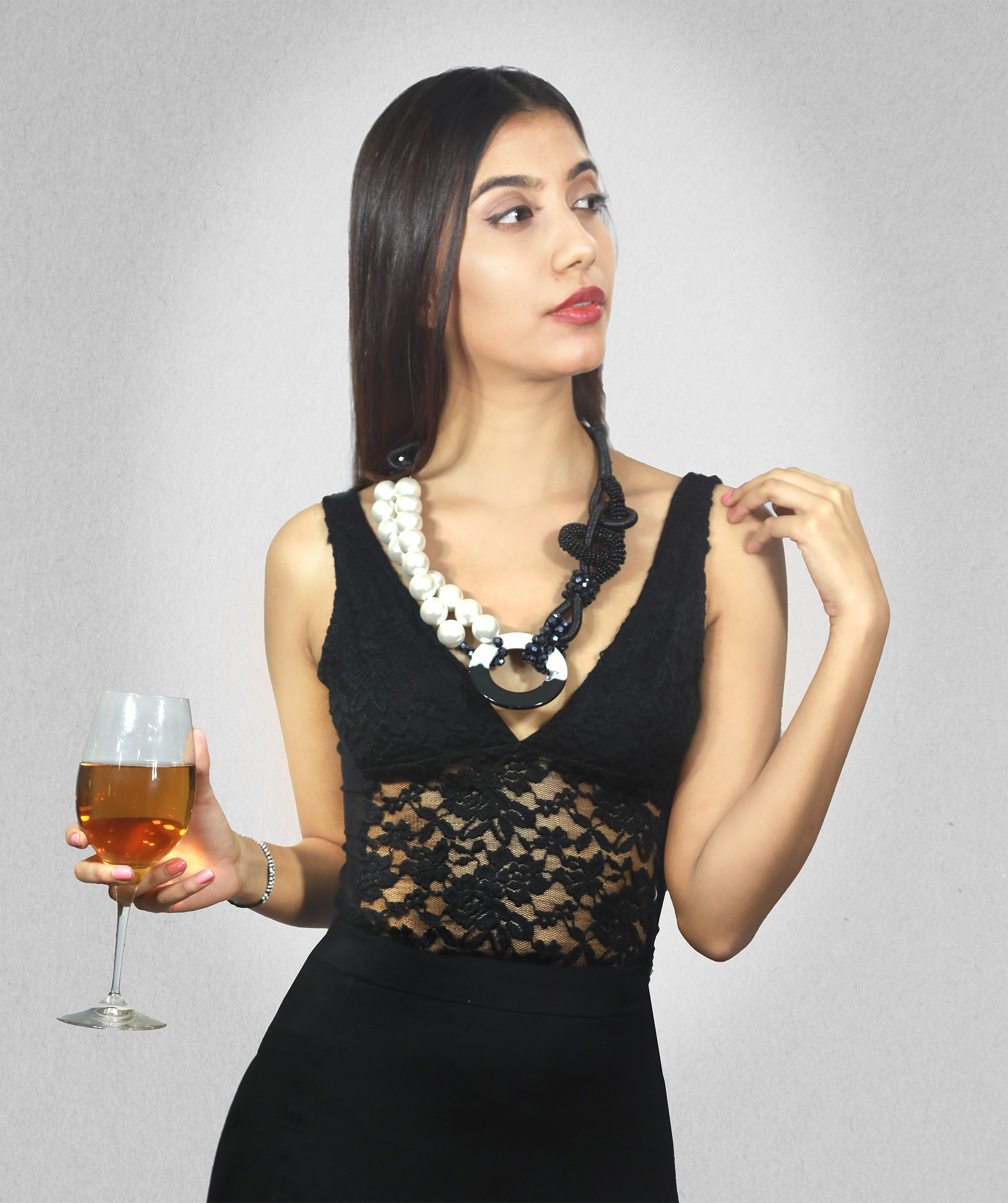 Sampriya Bhandare wearing Ying Yang Pearl Necklace