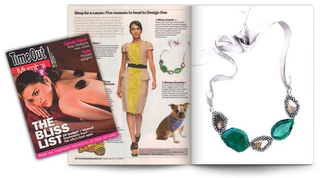 Femina, Green Stone Crystal Ribbon Necklace