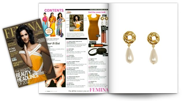 Femina, Pearl Drop Earrings