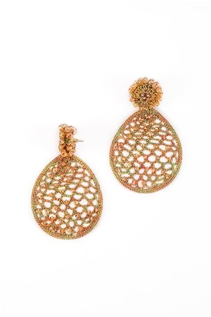 Honey Comb Crystal Crochet Gold Earrings