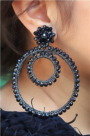 Jupiter Moon Black Crystal Hoop Earrings