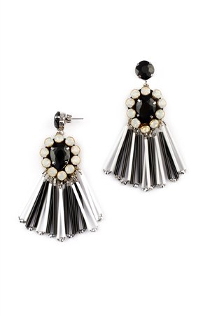 The Manhattan Black And White Glass Dangler Earrings