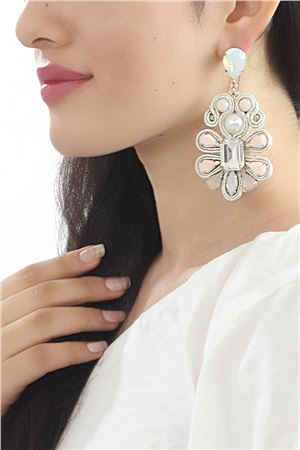 A Stranger In Paris Diamante Floral Statement Earrings