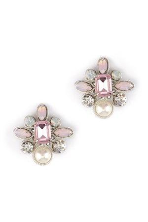 The Stop At St Tropez Diamante Crystal Pearl Clip-On Earrings