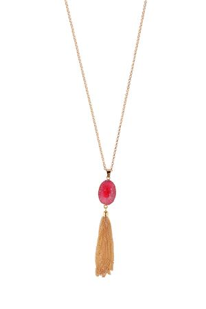 Cherry Crush Druzy Stone Red Pendant Tassel Necklace