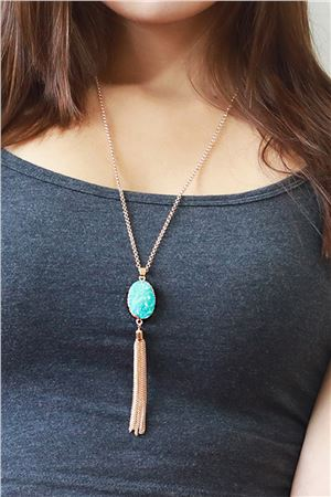 Jamaica Bay Druzy Stone Blue Pendant Tassel Necklace