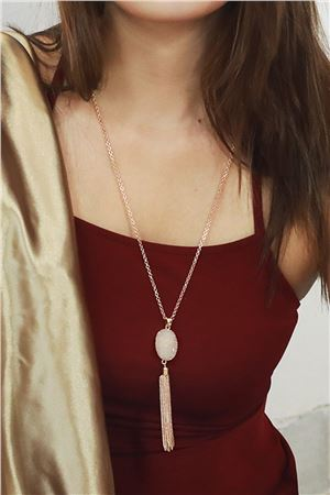 Moonlight Druzy Stone White Pendant Tassel Necklace