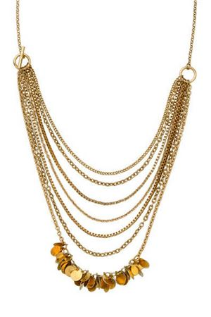 Layered Fringe Multi Layered Gold Chain Necklace