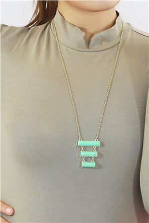 Aqua Skyline Turquoise Marble Bars Pendant Necklace