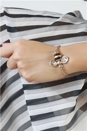 The Bee Happy Charm Gold Bracelet