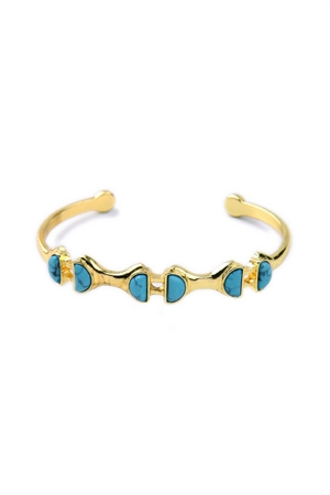 The Juliette Turquoise Marble Stone Gold Cuff
