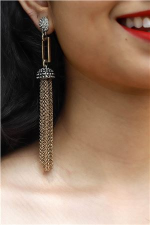 Tassel Lariat Long Gold Earrings