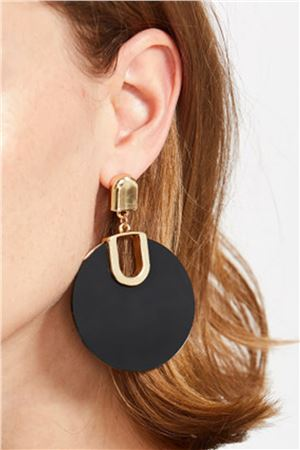 Onyx  Hoop Black Gold Earrings