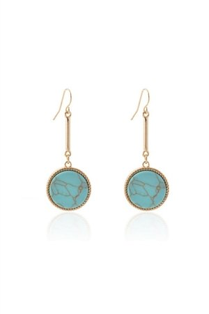 Marbled Turquoise  Stone Drop Earrings