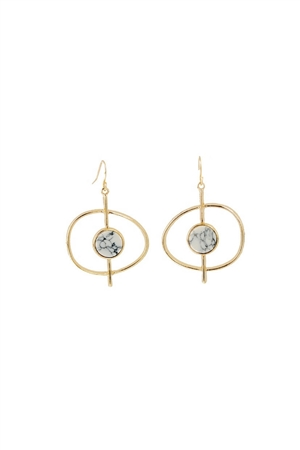 Saturn Moon Marbled White Stone Hoop Earrings