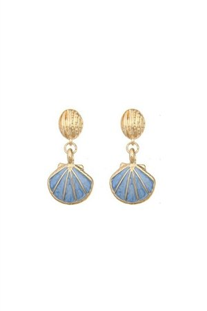 Surf Shell Blue Gold Drop Earrings