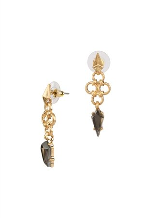 Vega Spike Gold Stud Black Stone Drop Earrings