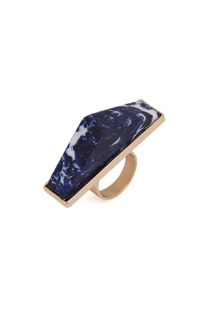 Pentagon Midnight Blue Marble Stone Ring