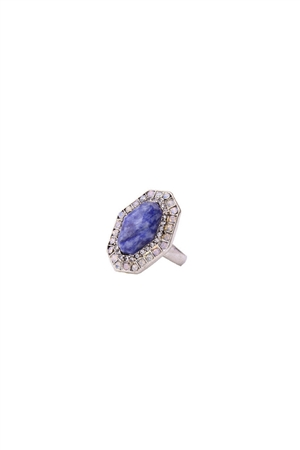 Neptune Blue Stone Hexagon Diamante Ring