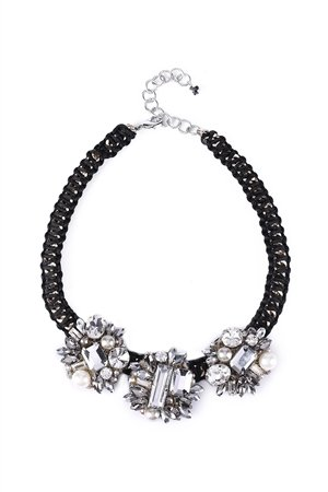 Celine Crystal Cluster Collar Statement Necklace