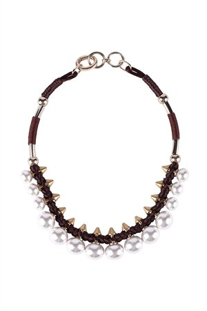 Pearl Spikes Collar-White Necklace