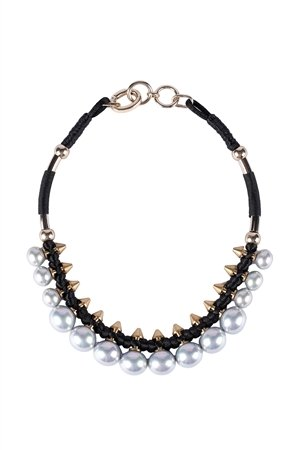 Pearl Spikes Collar-Grey Necklace