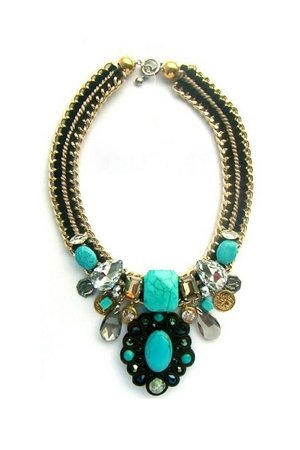 Aquamarine Charms Bib Statement Necklace