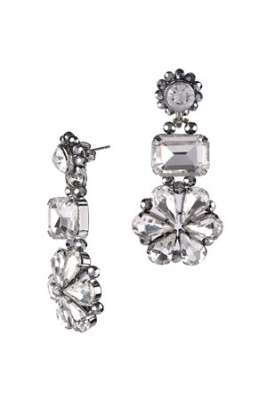 Crystal Clover Silver Statement Drop Earrings
