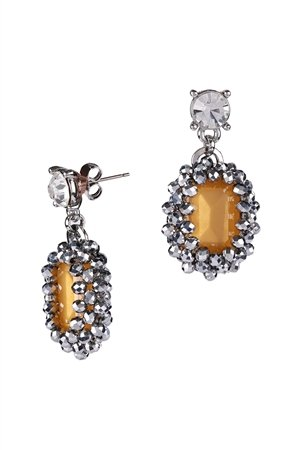 Honey Crystal Statement Drop Earrings