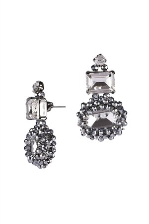Snow White Crystal Drop Stud Earrings