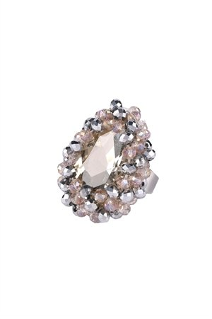 Briolette Crystal Statement Ring