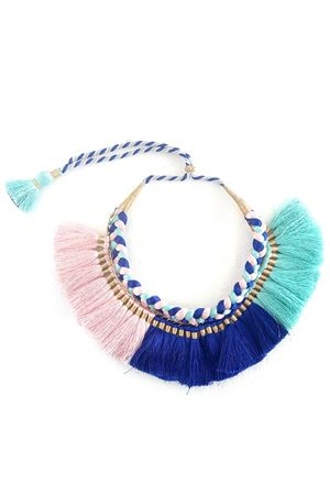 Hand-Braided Pink,Blue & Turquoise Tassel Necklace