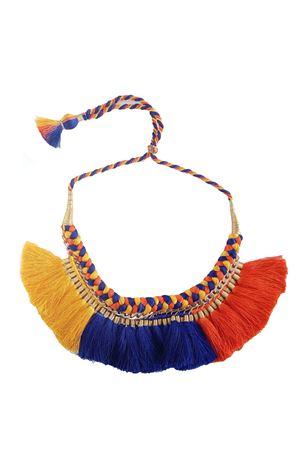 Yellow Blue Orange Braided Thread Tassel Necklace