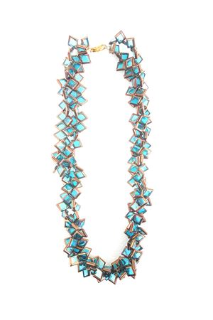 Muntin Muse Blue Gold Glass Square Necklace