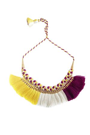 Hand-Braided Yellow White & Magenta Tassel Necklace