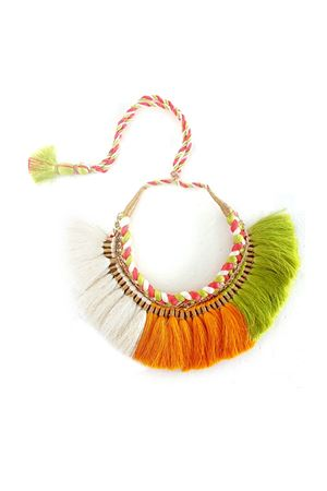 Hand-Braided Orange White & Green Tassel Necklace