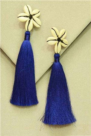 Blue Shell Tassel Earrings