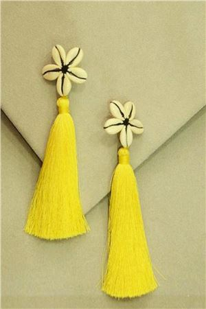 Yellow Shell Tassel Earrings