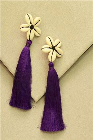 Violet Shell Tassel Earrings