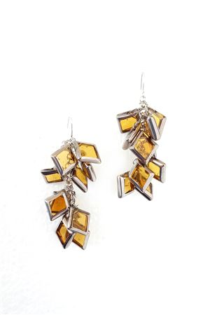 Muntin Muse Yellow Silver Glass Square Earring