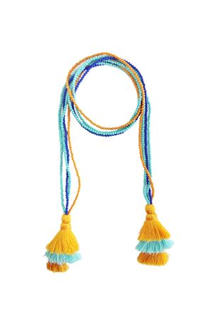 Multi-Way Blue & Yellow Tassel & Bead Necklace