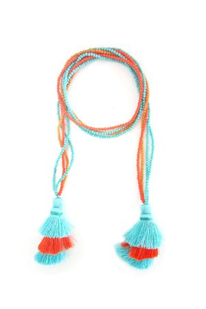 Multi-Way Blue, Orange & Yellow Tassel & Bead Necklace