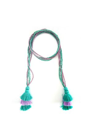 Multi-Way Purple & Green Tassel & Bead Necklace