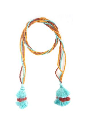 Multi-Way Blue Yellow Orange Tassel Glass Bead Open Necklace