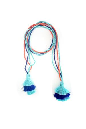 Multi-Way Blue & Orange Tassel & Bead Necklace
