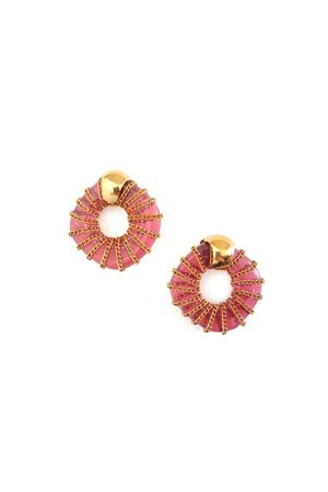 Catalina Red Glass Ring Gold Stud Earrings