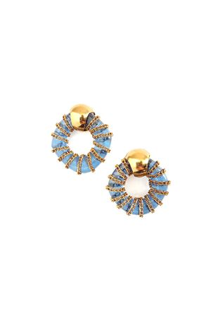 Peyton Blue Glass Ring Gold Stud Earrings