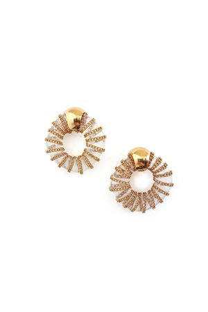 Piper White Glass Ring Gold Stud Earrings