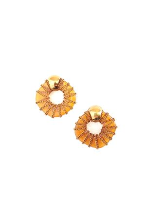 Thalia Orange Glass Ring Gold Stud Earrings