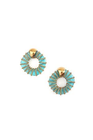 Delaney Blue Glass Ring Gold Stud Earrings